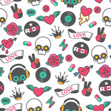 seamless vector rock pattern with skull and heart - 188995401