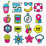 set of fashion trendy color patches, stickers and pins - 188995413