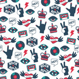 vector seamless rock and roll pattern - 188995805