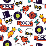 vector seamless rock pattern with skull - 188995812