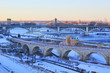 Beautiful winter morning in Minneapolis. Cityscape with bridges over Mississippi river and Saint Anthony Falls. Minnesota state, Midwest USA.
