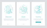 Food and Recipes concept onboarding app screens. Modern and simplified vector illustration walkthrough screens template for mobile apps. - 189006265