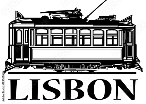 Foto op Canvas Art Studio Old classic tramway of Lisbon