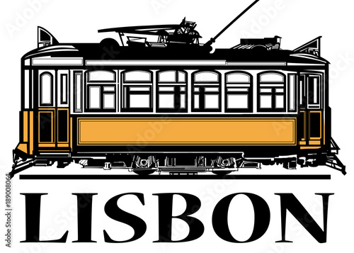 Foto op Canvas Art Studio Old classic yellow tram of Lisbon