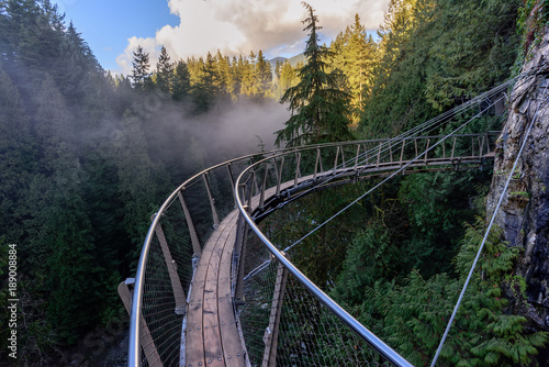 Foto Spatwand Canada a view from above from the suspension bridge on rough streams of a mountain river among green forests and rocky mountains