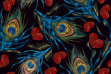 Embroidery peacock feathers and hearts seamless pattern. Symbol of love, passion. Classical fashionable embroidery beautiful peacocks feathers and red heart. Fashionable template design of clothes - 189016650