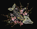 Embroidery fish bone and blossoming cherryflowers, gothic art background. Embroidery skeleton of fish, sea art seamless pattern. Fashionable template for design of clothes, t-shirt - 189016866