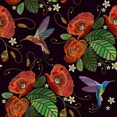 Embroidery humming birds and red poppies seamless pattern. Beautiful bouquet and tropical humming bird pattern. Decorative floral poppies embroidery © Matrioshka