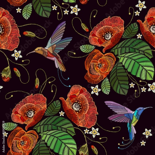 Embroidery humming birds and red poppies seamless pattern. Beautiful bouquet and tropical humming bird pattern. Decorative floral poppies embroidery