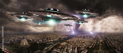 In de dag UFO UFO invasionover planet earth city 3D rendering