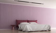 The interior design of luxury bedroom and pink color pattern wall texture background  - 189021061
