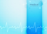 blue medical and science background with heartbeat line - 189021040