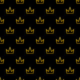 Black seamless pattern background with outline golden crowns. - 189021694