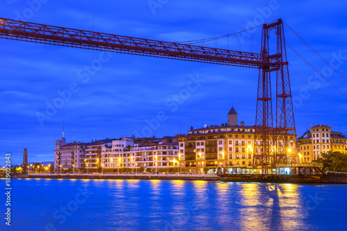 Fotobehang Bruggen panoramic view of biscay bridge from portugalete, Spain
