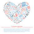 Medicine doodle shapes in heart. Hand drawn vector illustration
