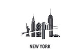 Illustration made with icons of most important buildings in New York. Flat vector design. - 189027621