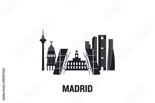 Skyline illustration of Madrid. Flat vector design.
