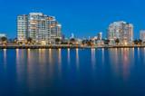 Port Melbourne waterfront apartment buildings at blue hour