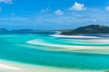 Aerial view of tropical island lagoon beach