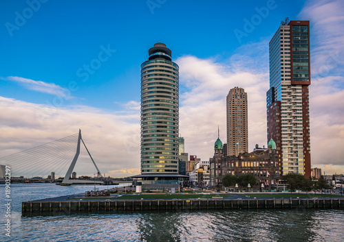 Deurstickers Rotterdam Erasmus bridge with Rotterdam skylines, Netherlands