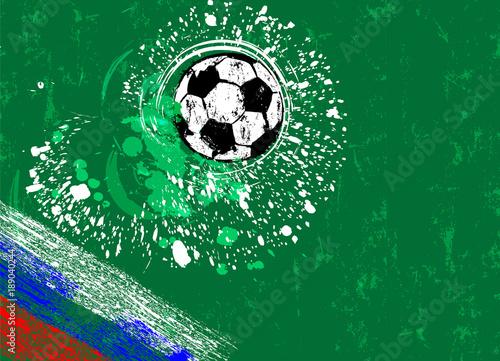 Fotobehang Abstract met Penseelstreken soccer / football, design template, grungy style, free copy space, with soccer ball