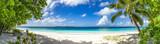 Fototapety großes Panorama von Sand, Meer und Palmen