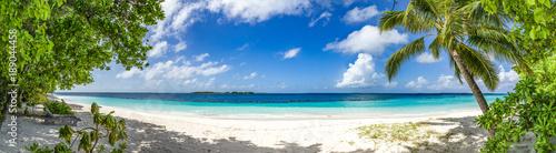 großes Panorama von Sand, Meer und Palmen