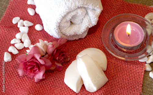 Foto op Canvas Spa Towel, perfumed candle and soap preparing for spa treatment