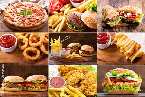 Fototapeta various fast food products