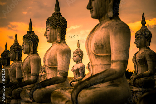 Canvas Boeddha Buddha images architecture in Wat Thung Yai in Nakhon Si Thammart , Thailand.