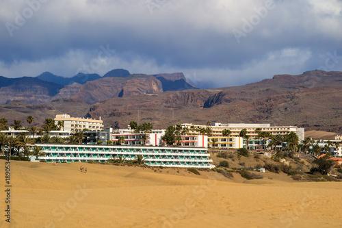 Canvas Canarische Eilanden Maspalomas dunes and hotels