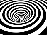 Abstract black and white striped optical illusion three dimensional geometrical wormhole shape