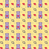 Seamless pattern of Teddy bear toy with hearts vector