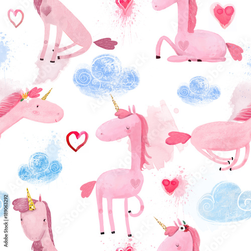 Cotton fabric Seamless Pattern with Cartoon Unicorns