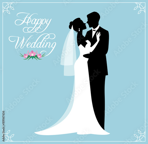 Silhouette of a loving couple of newlyweds groom and bride in wedding suits
