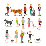 Pet owners with their animals vector flat icon set