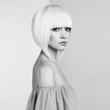 Fashion beautiful blonde with short haircut