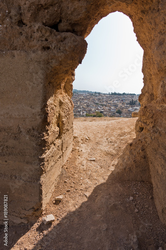 View from Merenides tombs to Fez cityscape, Morocco, Africa