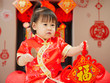 Chinese baby girl  with traditional dressing up and