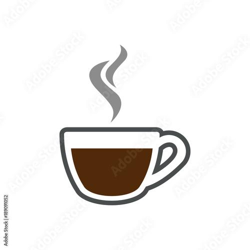 Icono plano cafe humeante gris y marron en fondo blanco