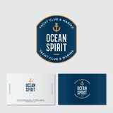 Yacht club logo. Ocean spirit emblem. Fisher Club emblem. Letters and an anchor on a blue badge with waves. Identity. Business card. - 189093033