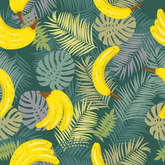 Seamless vector pattern of tropical leaves of palm tree and banana