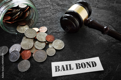 Bail Bond message with coins and gavel