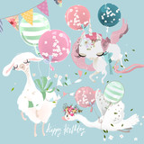 Cute flying baby animals - llama, alpaca, unicorn and swan. Llama with balloons, unicorn with tied bow and swan with festive flags. Happy Birthday clipart set