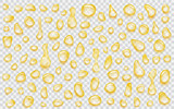Set of yellow translucent water drops of different shapes with shadows, isolated on transparent background. Transparency only in vector format - 189097630
