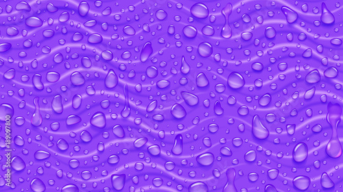Background of waves and water drops of different shapes with shadows in purple colors