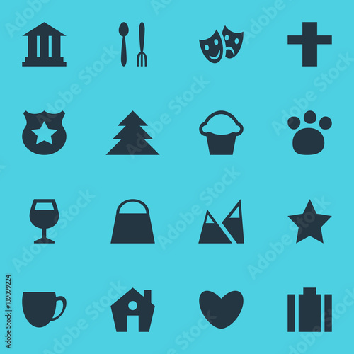 Papiers peints Turquoise Vector illustration of 16 map icons. Editable set of house, forest, theatre and other icon elements.
