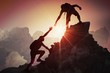 Quadro Help and assistance concept. Silhouettes of two people climbing on mountain and helping.