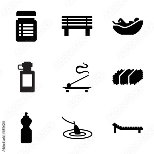 Relax icons. set of 9 editable filled relax icons