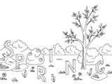 Spring graphic black white landscape tree sketch illustration vector - 189127471